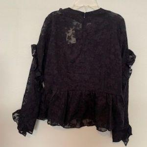 H & M Black Flora Lace Blouse ruffled